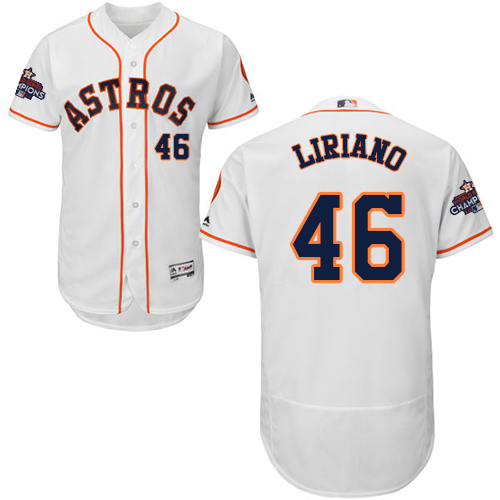 Men's Majestic Houston Astros #46 Francisco Liriano Authentic White Home 2017 World Series Champions Flex Base MLB Jersey