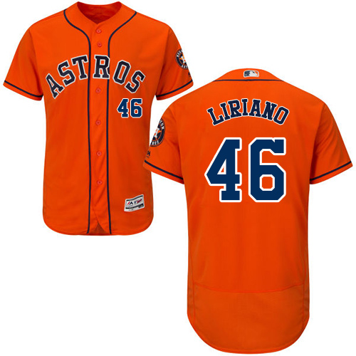 Men's Majestic Houston Astros #46 Francisco Liriano Orange Flexbase Authentic Collection MLB Jersey