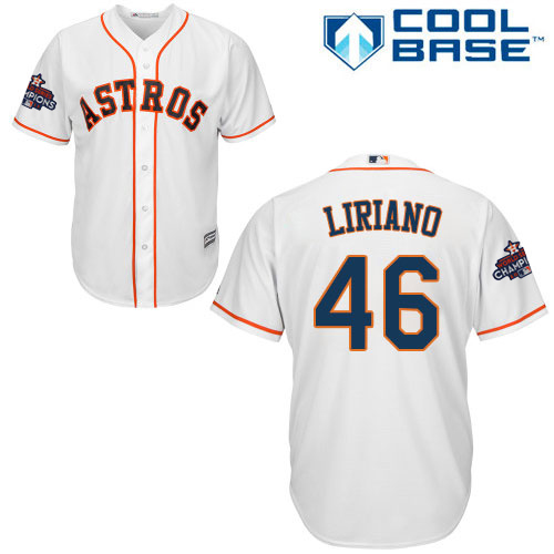 Men's Majestic Houston Astros #46 Francisco Liriano Replica White Home 2017 World Series Champions Cool Base MLB Jersey