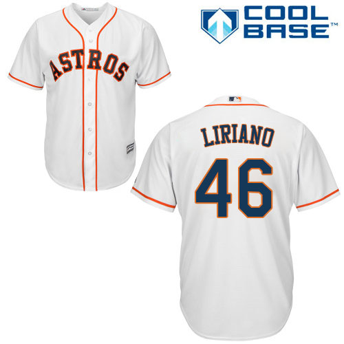Men's Majestic Houston Astros #46 Francisco Liriano Replica White Home Cool Base MLB Jersey