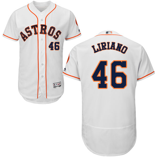 Men's Majestic Houston Astros #46 Francisco Liriano White Flexbase Authentic Collection MLB Jersey