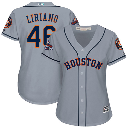 Women's Majestic Houston Astros #46 Francisco Liriano Authentic Grey Road 2017 World Series Champions Cool Base MLB Jersey