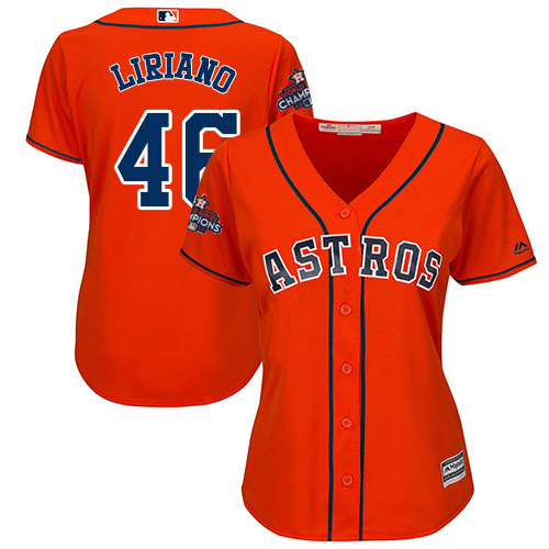 Women's Majestic Houston Astros #46 Francisco Liriano Authentic Orange Alternate 2017 World Series Champions Cool Base MLB Jersey