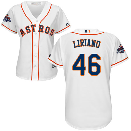Women's Majestic Houston Astros #46 Francisco Liriano Authentic White Home 2017 World Series Champions Cool Base MLB Jersey