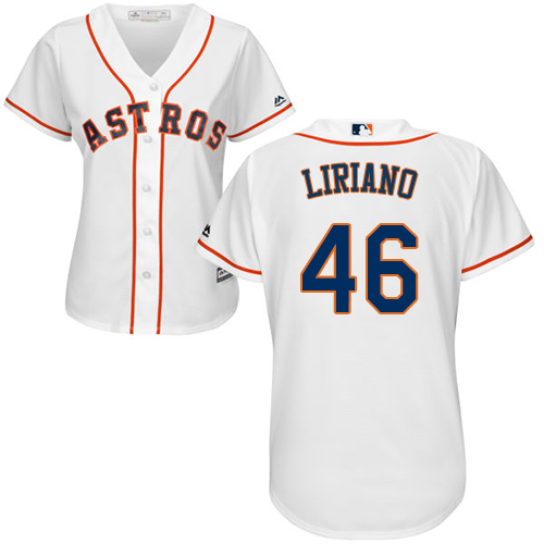 Women's Majestic Houston Astros #46 Francisco Liriano Authentic White Home Cool Base MLB Jersey