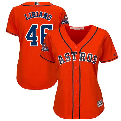 Women's Majestic Houston Astros #46 Francisco Liriano Replica Orange Alternate 2017 World Series Champions Cool Base MLB Jersey