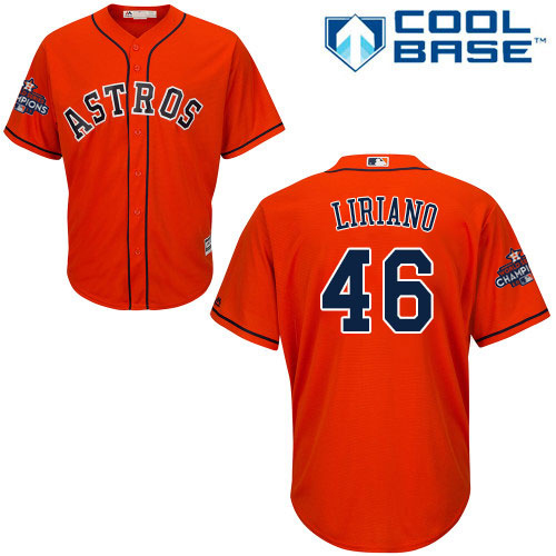 Youth Majestic Houston Astros #46 Francisco Liriano Authentic Orange Alternate 2017 World Series Champions Cool Base MLB Jersey