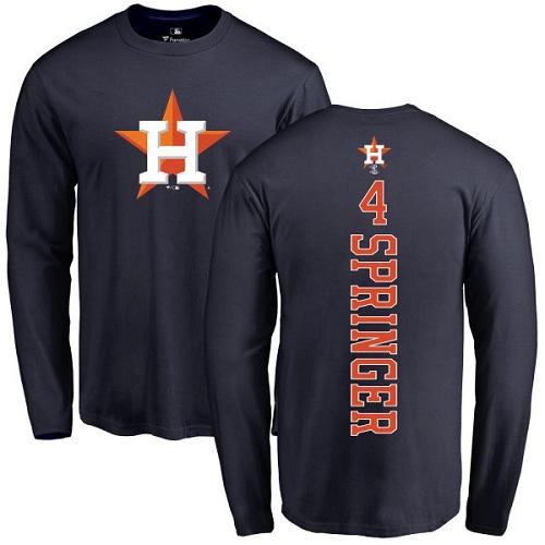 MLB Nike Houston Astros #4 George Springer Navy Blue Backer Long Sleeve T-Shirt