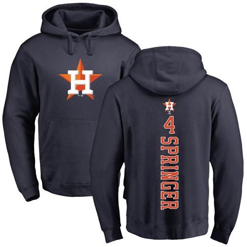 MLB Nike Houston Astros #4 George Springer Navy Blue Backer Pullover Hoodie
