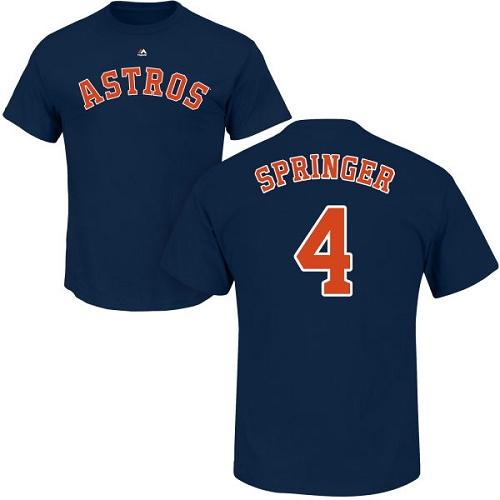 MLB Nike Houston Astros #4 George Springer Navy Blue Name & Number T-Shirt