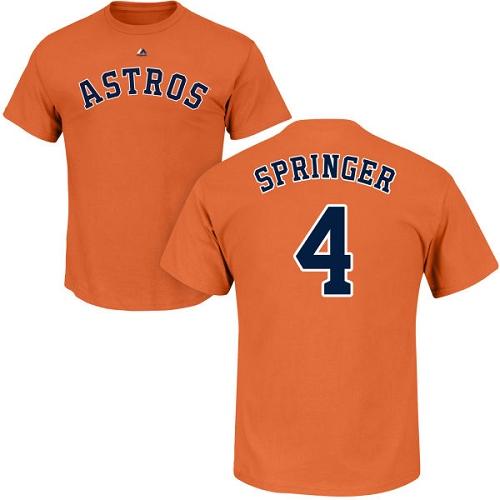 MLB Nike Houston Astros #4 George Springer Orange Name & Number T-Shirt