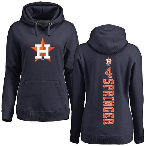 MLB Women's Nike Houston Astros #4 George Springer Navy Blue Backer Pullover Hoodie