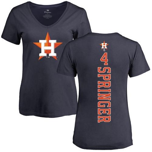 MLB Women's Nike Houston Astros #4 George Springer Navy Blue Backer T-Shirt