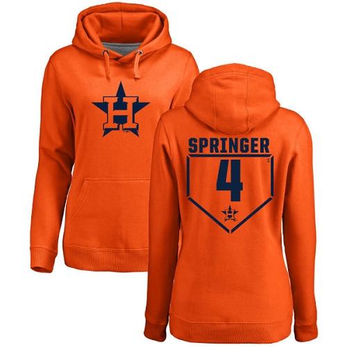 MLB Women's Nike Houston Astros #4 George Springer Orange RBI Pullover Hoodie
