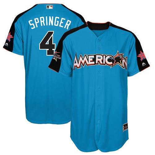 Men's Majestic Houston Astros #4 George Springer Authentic Blue American League 2017 MLB All-Star MLB Jersey