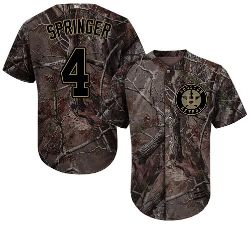 Men's Majestic Houston Astros #4 George Springer Authentic Camo Realtree Collection Flex Base MLB Jersey