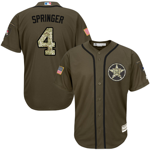 Men's Majestic Houston Astros #4 George Springer Authentic Green Salute to Service MLB Jersey