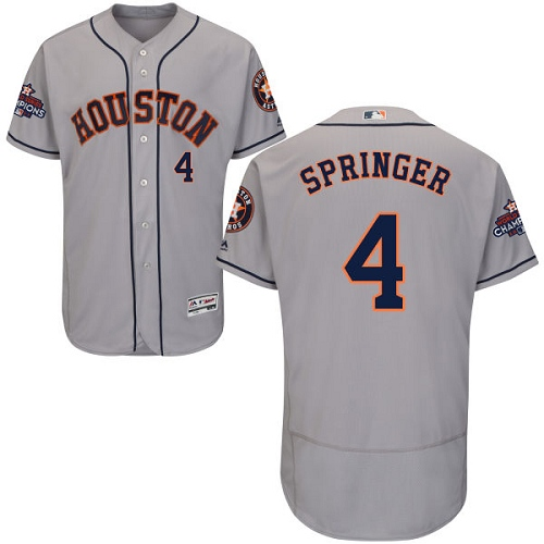Men's Majestic Houston Astros #4 George Springer Authentic Grey Road 2017 World Series Champions Flex Base MLB Jersey