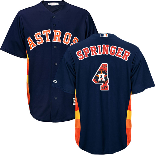 Men's Majestic Houston Astros #4 George Springer Authentic Navy Blue Team Logo Fashion Cool Base MLB Jersey