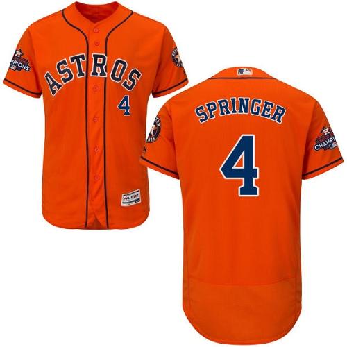 Men's Majestic Houston Astros #4 George Springer Authentic Orange Alternate 2017 World Series Champions Flex Base MLB Jersey