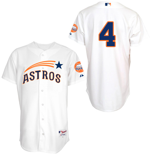 Men's Majestic Houston Astros #4 George Springer Authentic White 1965 Turn Back The Clock MLB Jersey