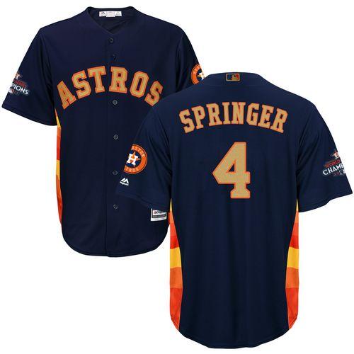 Men's Majestic Houston Astros #4 George Springer Replica Navy Blue Alternate 2018 Gold Program Cool Base MLB Jersey