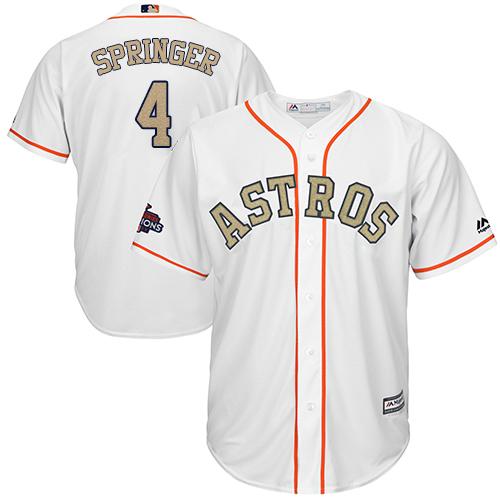 Men's Majestic Houston Astros #4 George Springer Replica White 2018 Gold Program Cool Base MLB Jersey