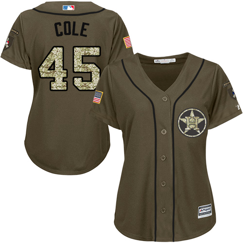 Women's Majestic Houston Astros #45 Gerrit Cole Authentic Green Salute to Service MLB Jersey