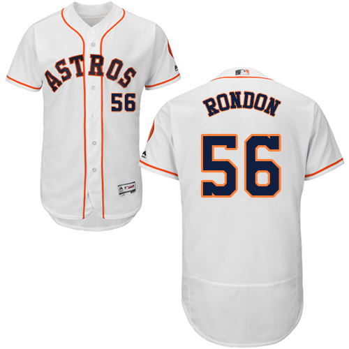 Men's Majestic Houston Astros #56 Hector Rondon White Home Flex Base Authentic Collection MLB Jersey