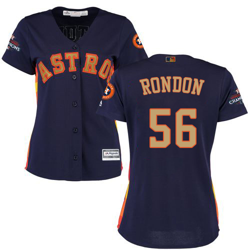 Women's Majestic Houston Astros #56 Hector Rondon Authentic Navy Blue Alternate 2018 Gold Program Cool Base MLB Jersey