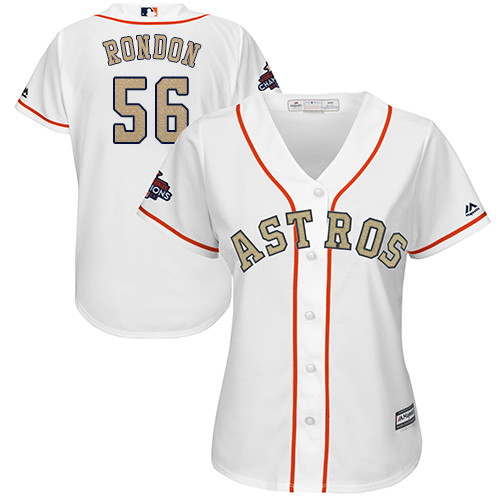 Women's Majestic Houston Astros #56 Hector Rondon Authentic White 2018 Gold Program Cool Base MLB Jersey