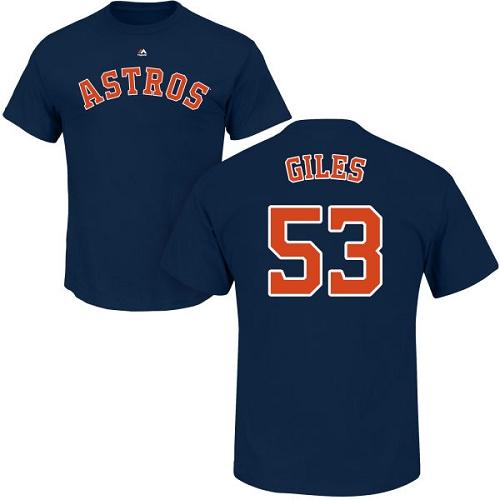MLB Nike Houston Astros #53 Ken Giles Navy Blue Name & Number T-Shirt