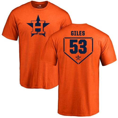 MLB Nike Houston Astros #53 Ken Giles Orange RBI T-Shirt