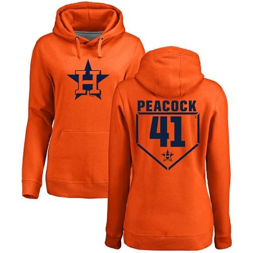 MLB Women's Nike Houston Astros #41 Brad Peacock Orange RBI Pullover Hoodie