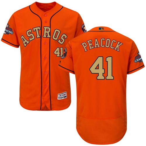 Men's Majestic Houston Astros #41 Brad Peacock Orange Alternate 2018 Gold Program Flex Base Authentic Collection MLB Jersey