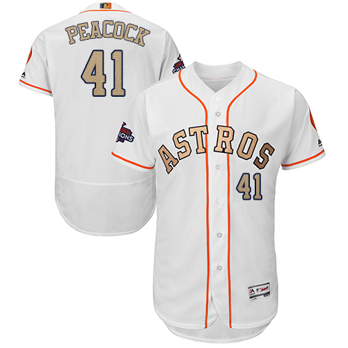 Men's Majestic Houston Astros #41 Brad Peacock White 2018 Gold Program Flex Base Authentic Collection MLB Jersey