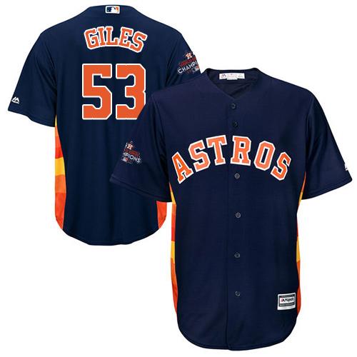 Men's Majestic Houston Astros #53 Ken Giles Replica Navy Blue Alternate 2017 World Series Champions Cool Base MLB Jersey