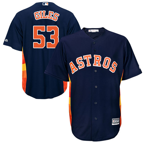 Men's Majestic Houston Astros #53 Ken Giles Replica Navy Blue Alternate Cool Base MLB Jersey