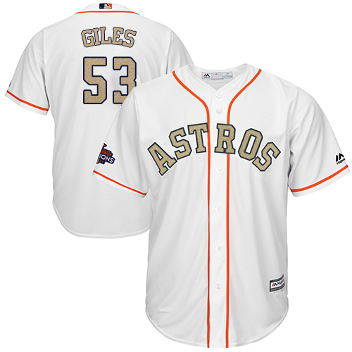 Men's Majestic Houston Astros #53 Ken Giles Replica White 2018 Gold Program Cool Base MLB Jersey