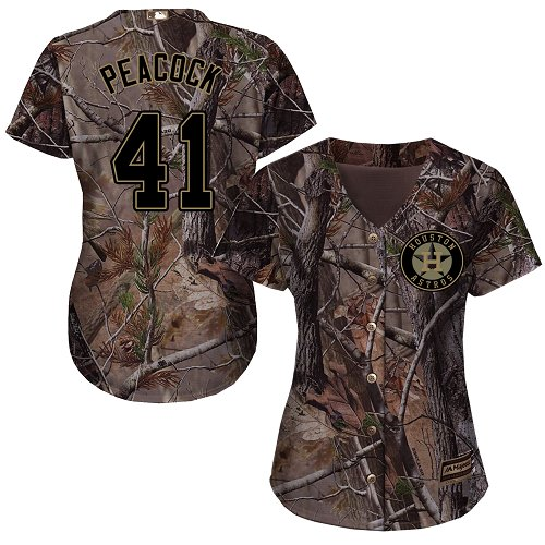 Women's Majestic Houston Astros #41 Brad Peacock Authentic Camo Realtree Collection Flex Base MLB Jersey