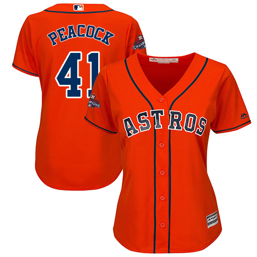 Women's Majestic Houston Astros #41 Brad Peacock Authentic Orange Alternate 2017 World Series Champions Cool Base MLB Jersey