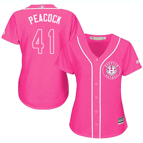 Women's Majestic Houston Astros #41 Brad Peacock Authentic Pink Fashion Cool Base MLB Jersey