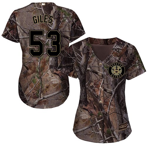 Women's Majestic Houston Astros #53 Ken Giles Authentic Camo Realtree Collection Flex Base MLB Jersey