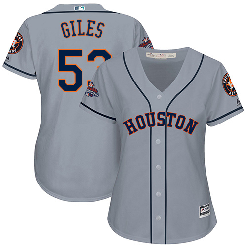 Women's Majestic Houston Astros #53 Ken Giles Authentic Grey Road 2017 World Series Champions Cool Base MLB Jersey