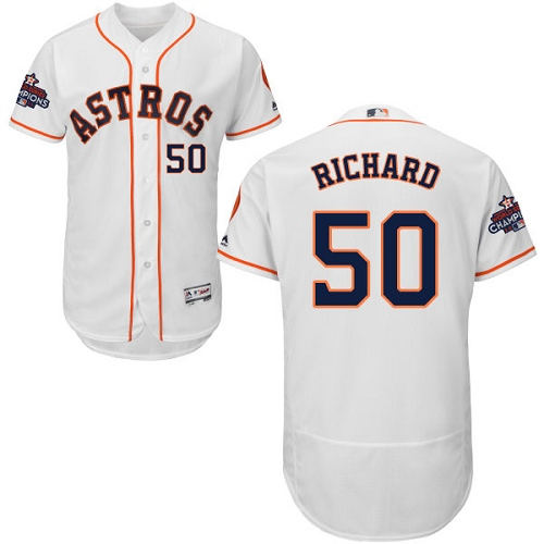 Men's Majestic Houston Astros #50 J.R. Richard Authentic White Home 2017 World Series Champions Flex Base MLB Jersey