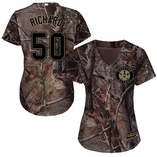 Women's Majestic Houston Astros #50 J.R. Richard Authentic Camo Realtree Collection Flex Base MLB Jersey