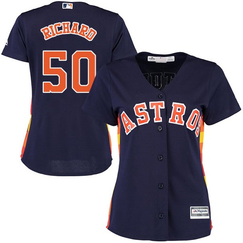 Women's Majestic Houston Astros #50 J.R. Richard Authentic Navy Blue Alternate Cool Base MLB Jersey