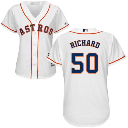 Women's Majestic Houston Astros #50 J.R. Richard Authentic White Home Cool Base MLB Jersey