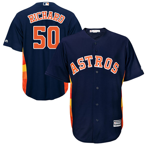 Youth Majestic Houston Astros #50 J.R. Richard Authentic Navy Blue Alternate Cool Base MLB Jersey