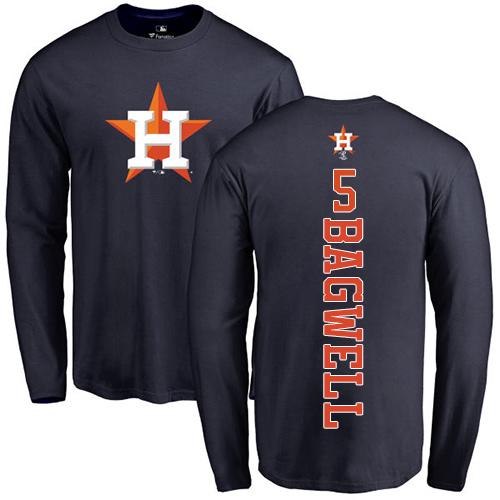 MLB Nike Houston Astros #5 Jeff Bagwell Navy Blue Backer Long Sleeve T-Shirt